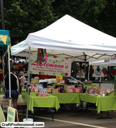 Craft tent at an outdoor farmer's market