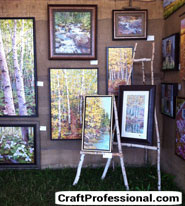 Art display on burlap