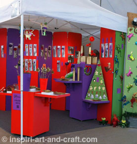 Colorful craft booth