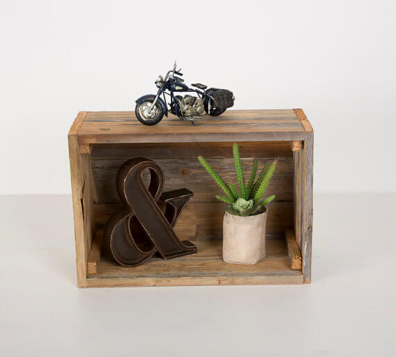 Reclaimed wood crates at Del Hutson Designs