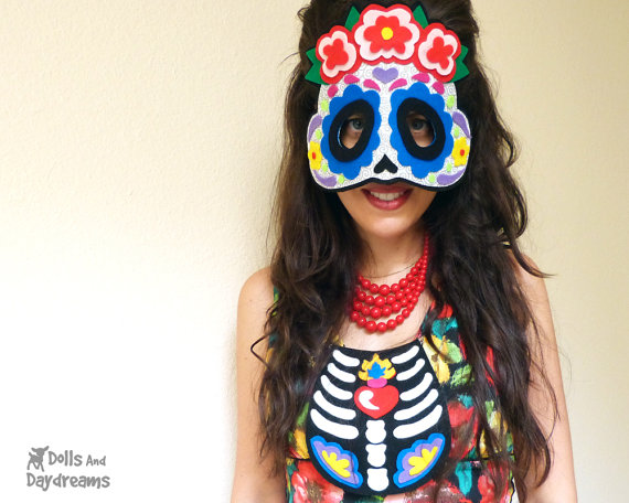 Day of the dead mask pattern by Dolls and Daydreams