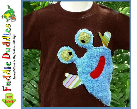 Monster shirt applique patterns by Fuddie Duddies on Etsy