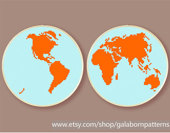 World map counted cross stitch at Galaborn Patterns