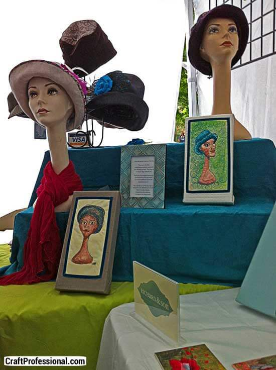 Hats displayed at a craft show