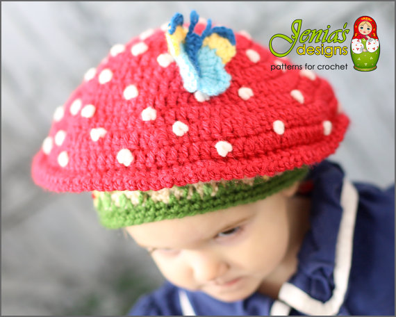 Toadstool hat crochet pattern by Jenia's Designs