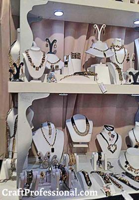 All white jewelry display