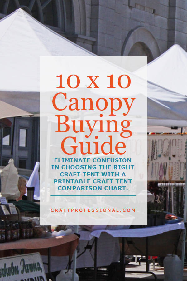 White portable canopies at an outdoor craft fair. Text overlay - 10 x 10 Canopy Buying Guide. Eliminate the confusion in choosing a craft tent with a printable craft tent comparison chart.