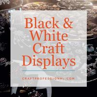 Jewelry booth with text overlay - Black and White Craft Displays