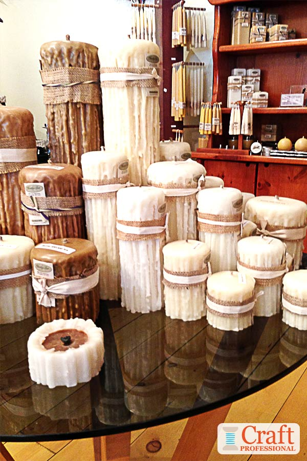 Table top handmade candle display.
