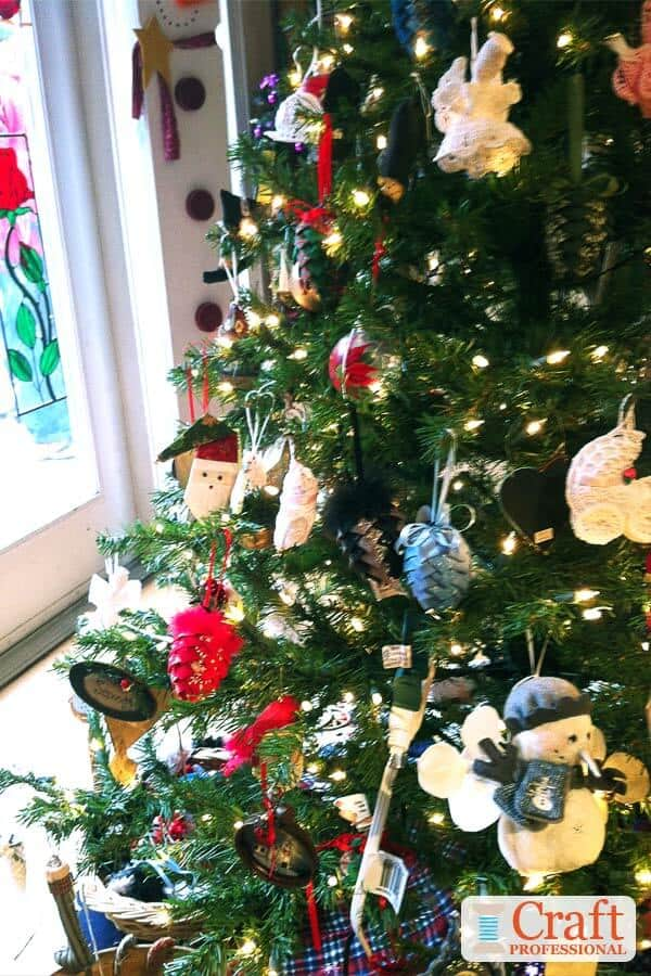Close Up of Christmas Tree with Handmade Ornaments
