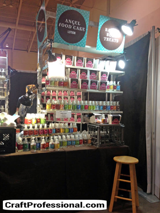 Black craft booth and colorful packaging