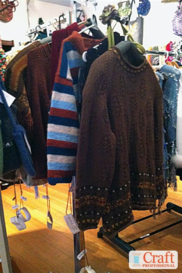 Hand knit sweater display
