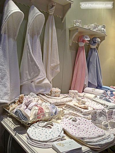 Handmade baby product display.