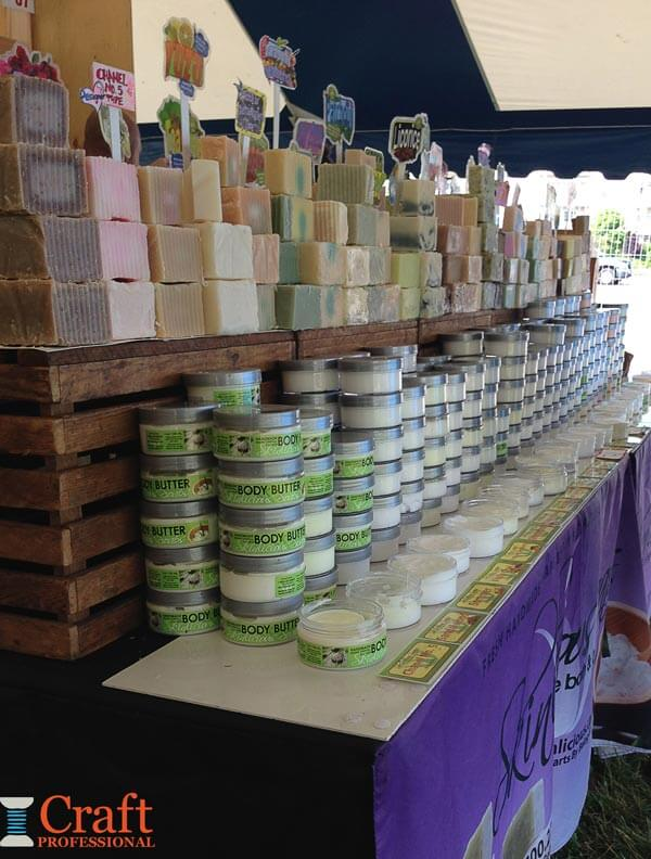 Stacks of handmade soap and body butter