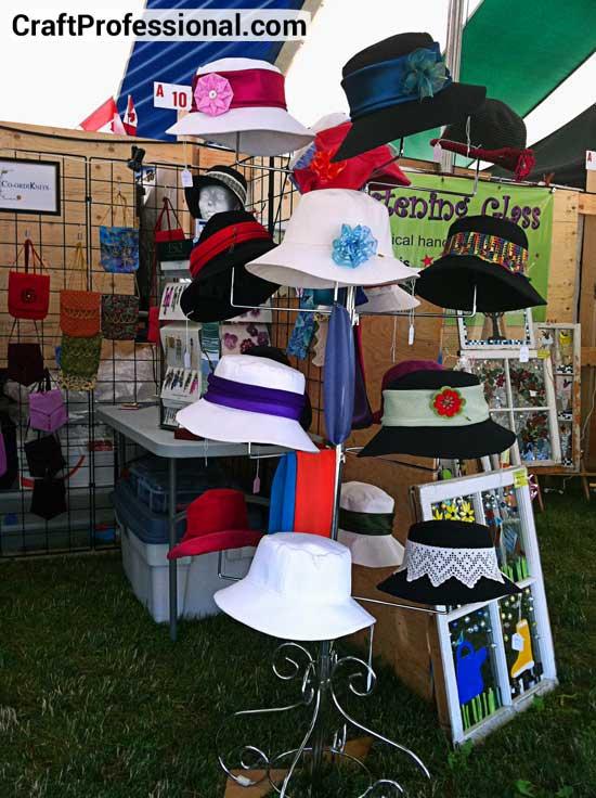 Handmade hats at a craft fair