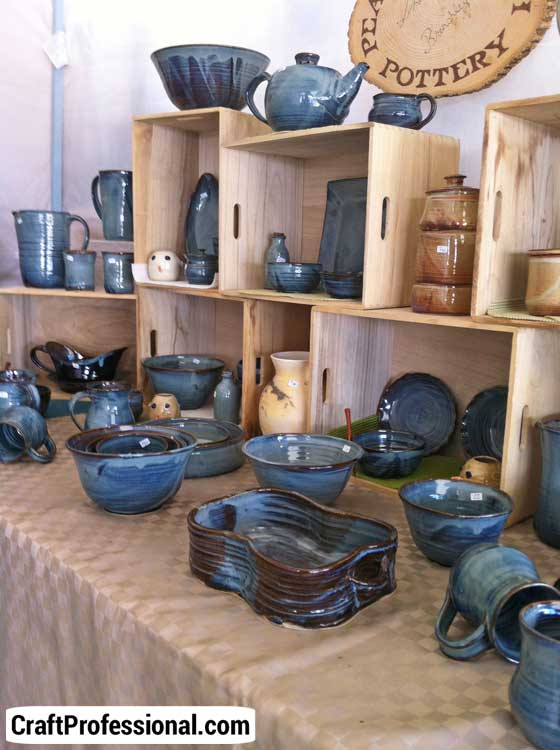 Pottery booth with natural colors.