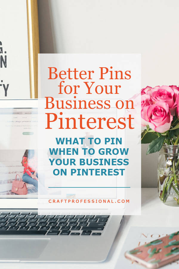 Office desk top with text overlay - What to pin when you grow your business on Pinterest