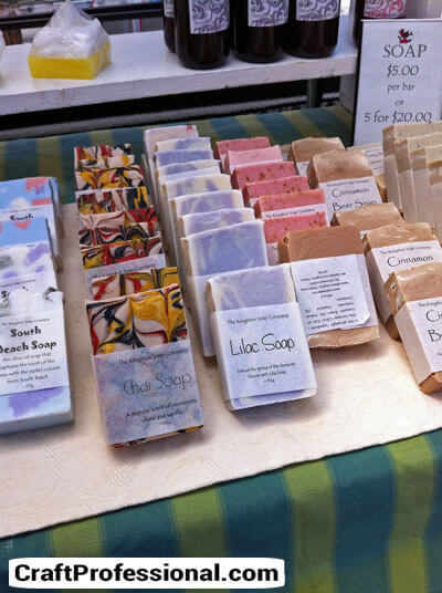 Colorful handmade soap booth