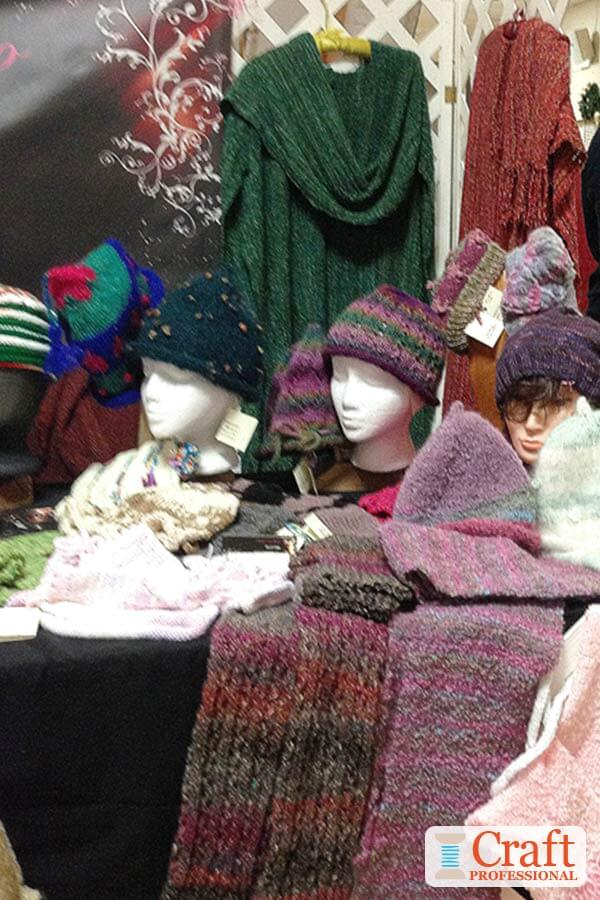 Knit hats displayed on mannequins