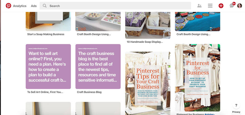 Pinterest website pins search results