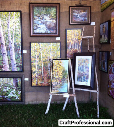 Art display on burlap