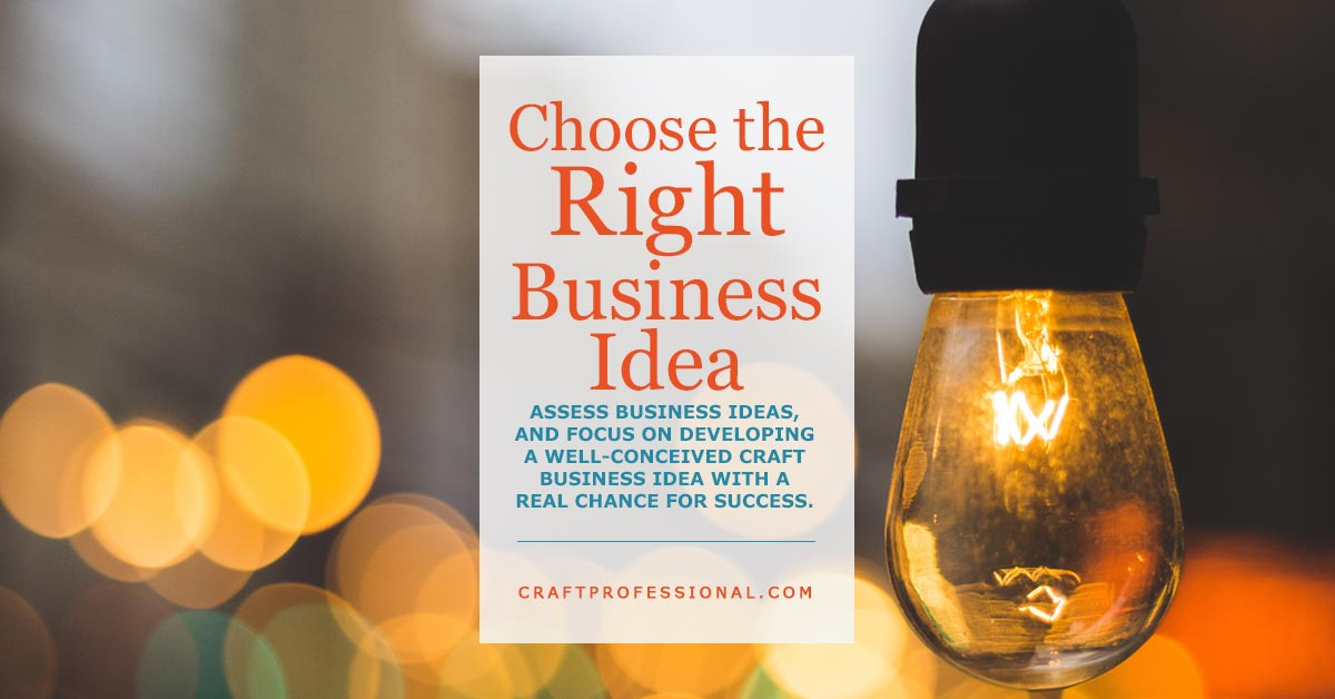 Lightbulb with text overlay Choose the Right Business Idea