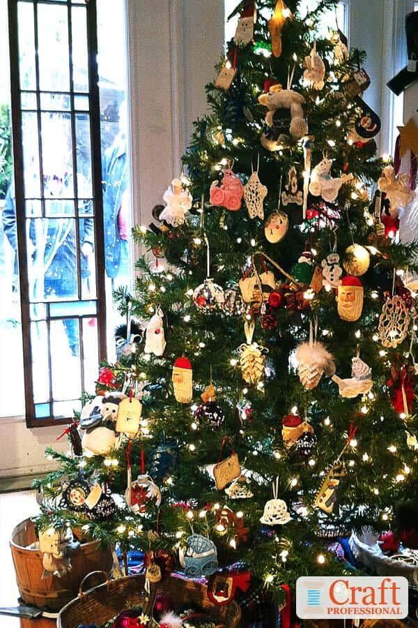 Christmas Tree with Handmade Ornaments