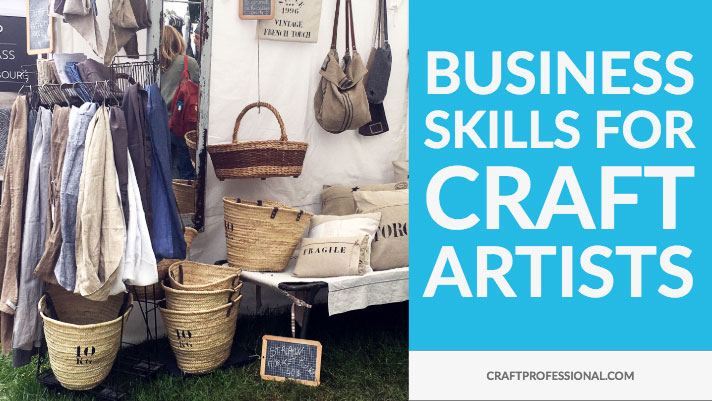 Craft booth with text business skills for craft artists