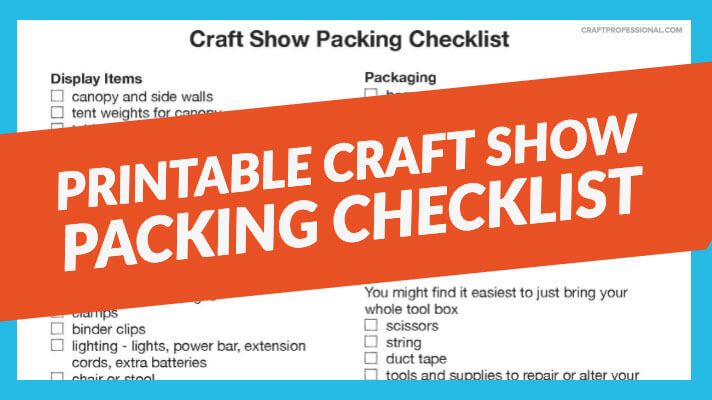 Craft show packing checklist with text overlay Printable Craft Show Packing Checklist.