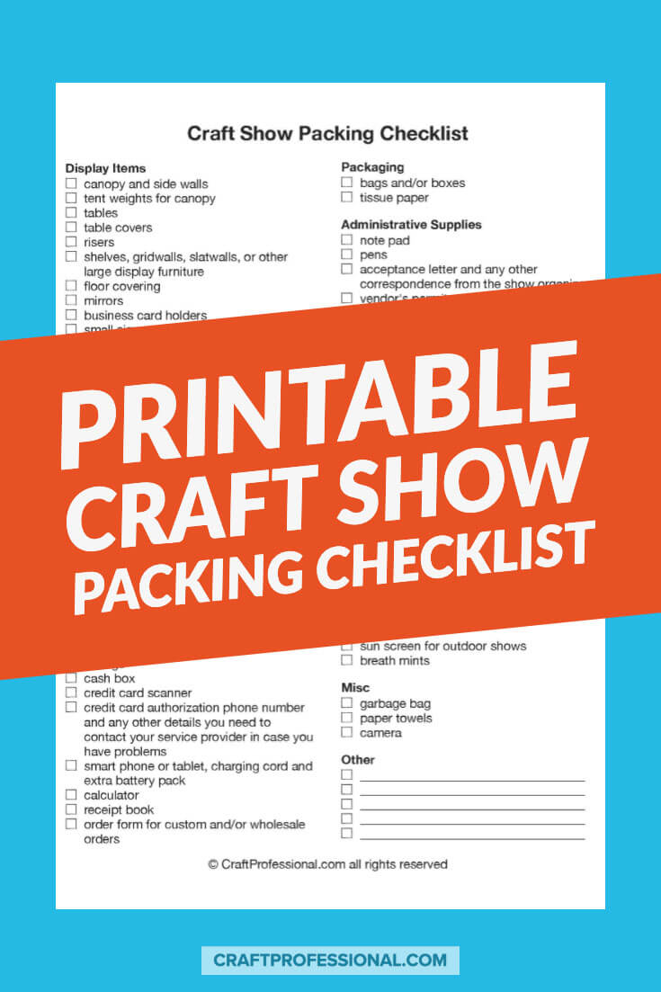 Craft show packing checklist with text overlay Printable Craft Show Packing Checklist