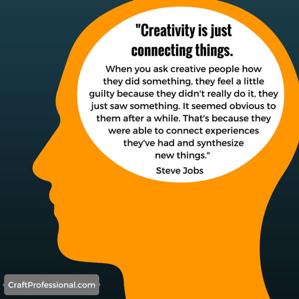 Silhouette graphic of head with text inside: Creativity is just connecting things. Steve jobs