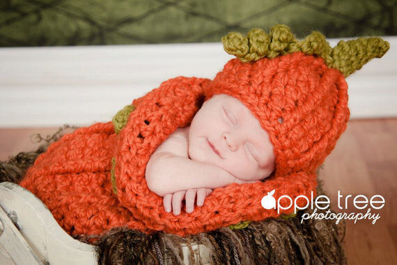 Baby pumpkin hat and cocoon crochet pattern