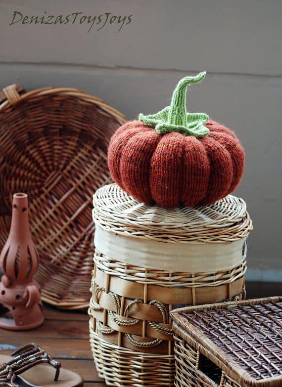 Pumpkin decoration knitting pattern by Deniza's Toys Joys