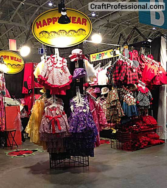 Children's clothing displayed on gridwalls