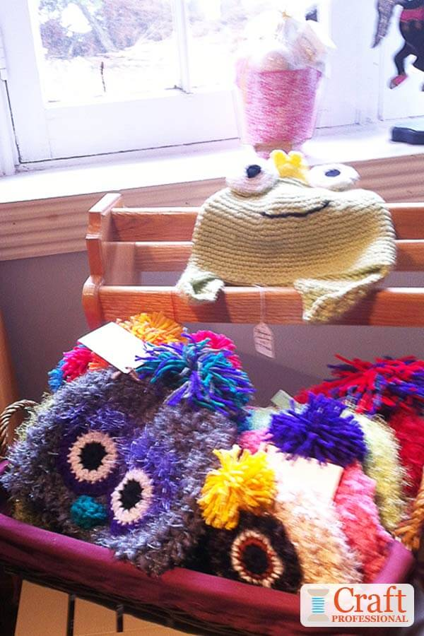 10 craft fair booths featuring knit and crocheted handmade
