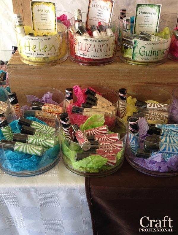 Handmade lip balm display.