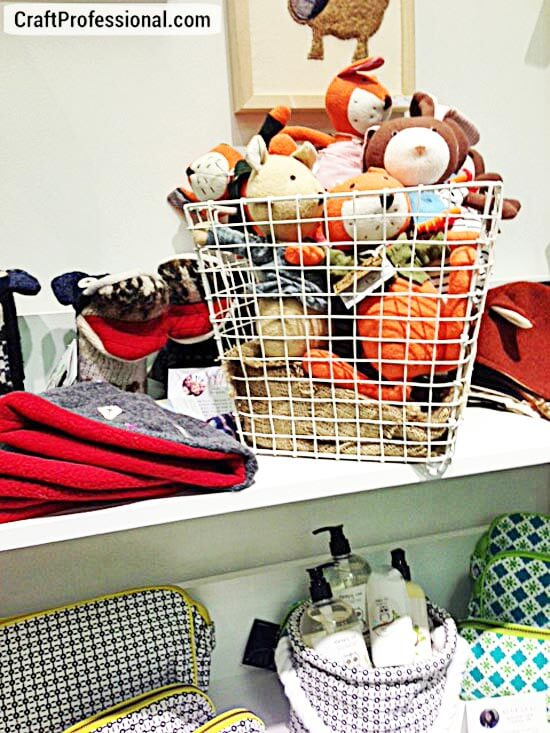 Handmade stuffed animals in a basket