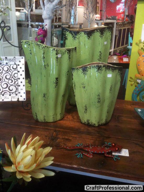 Handmade vases in an art store