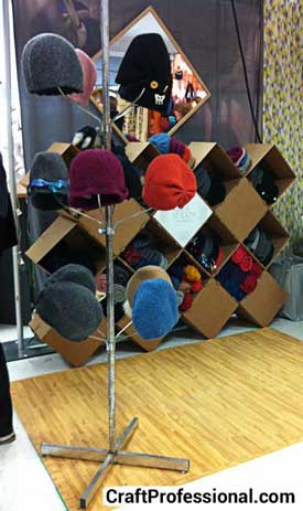 Unusual shelves used to display hats