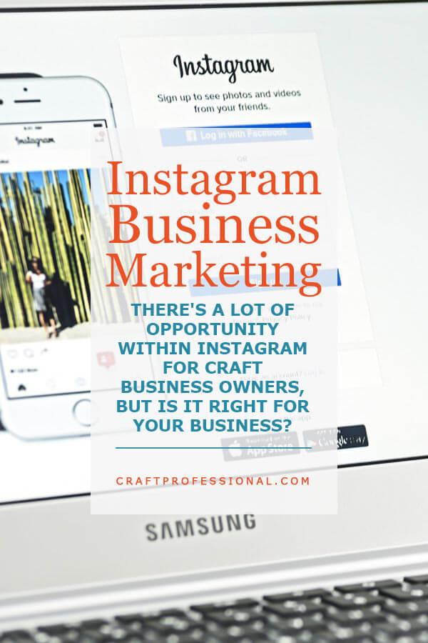 Laptop screen and keyboard with text overlay Instagram Business Marketing