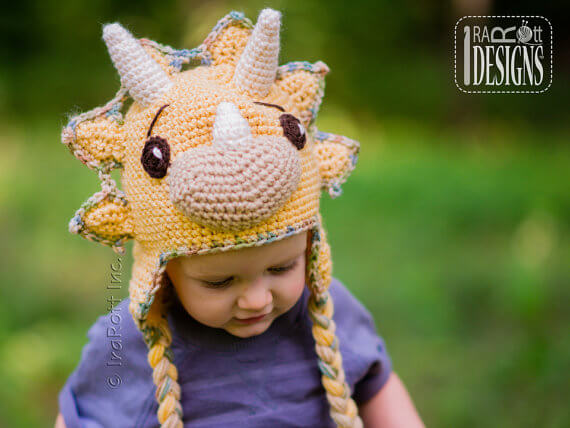 Dino hat crochet pattern by Ira Rott Designs