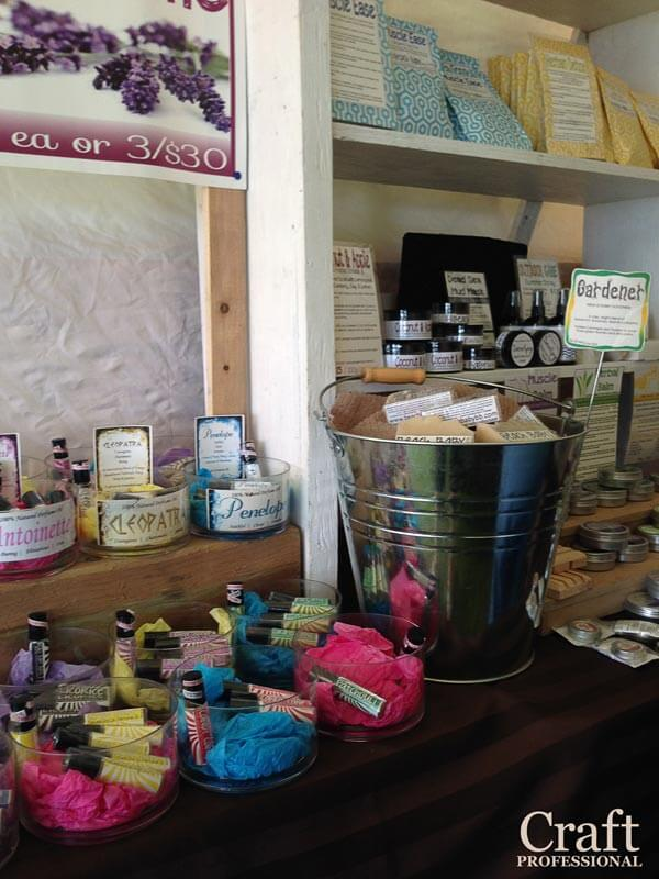 Beachy handmade soap display