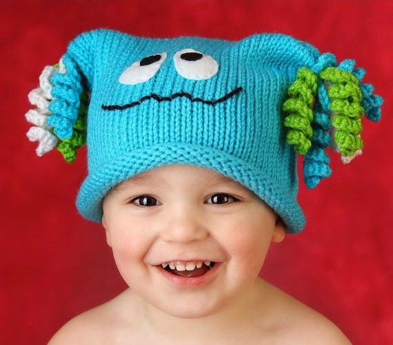 Monster hat knitting pattern by One Day at a Thyme on Etsy