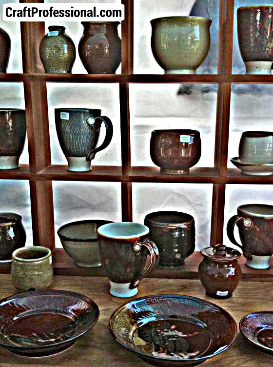 Very orderly pottery booth.