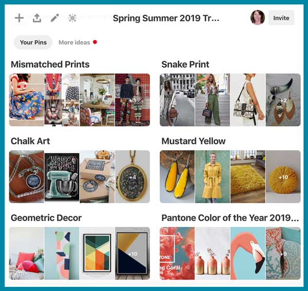 Collection of fashion and decor ideas featuring Pinterest 2019 trend forecast.