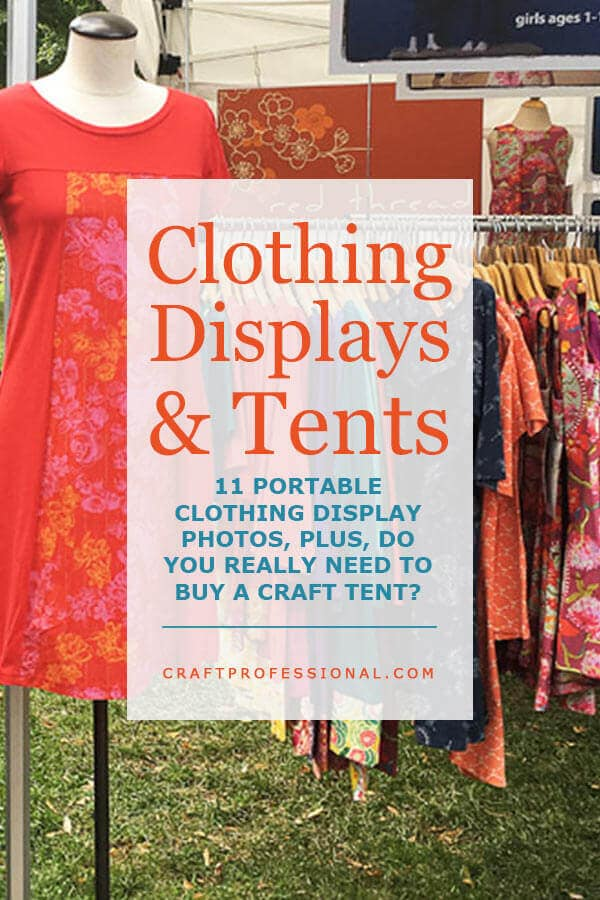 Dress on mannequin at outdoor craft show with text overlay - Clothing Displays & Tents