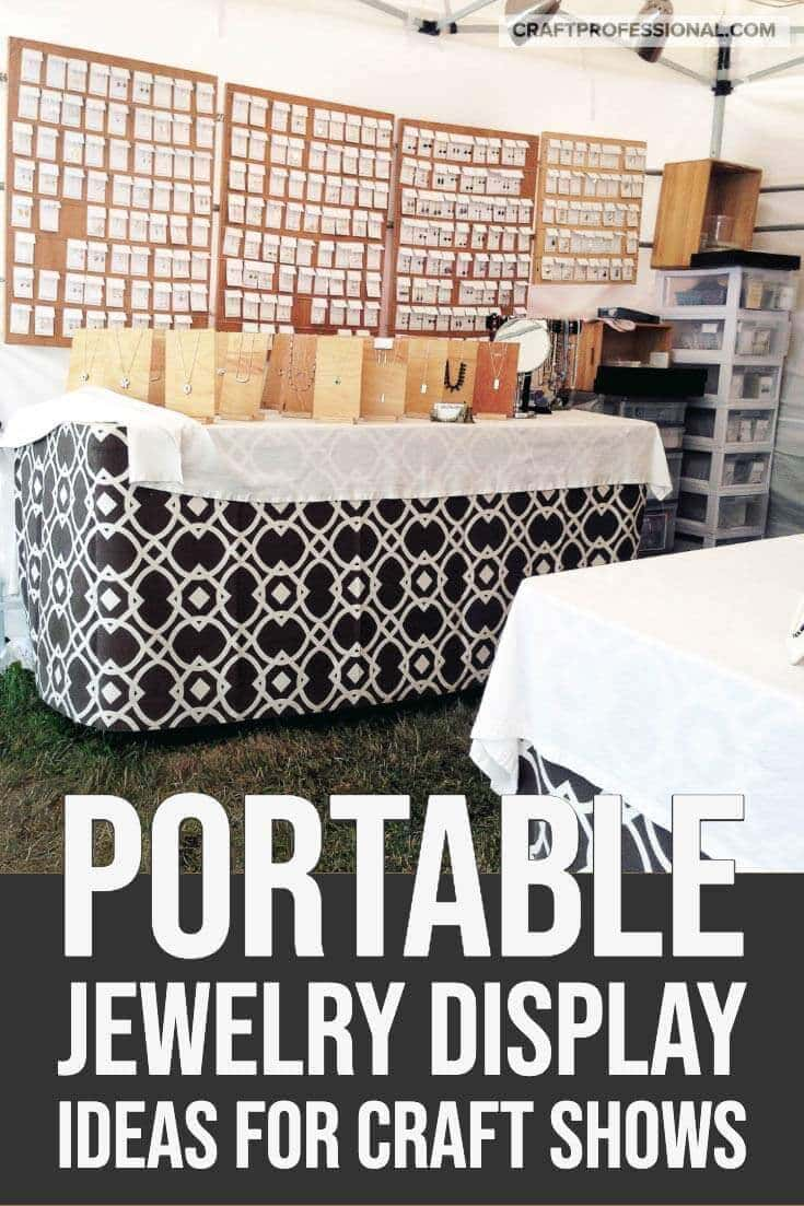 Handmade jewelry displayed at a craft show. Text overlay - Portable jewelry display ideas for craft shows.