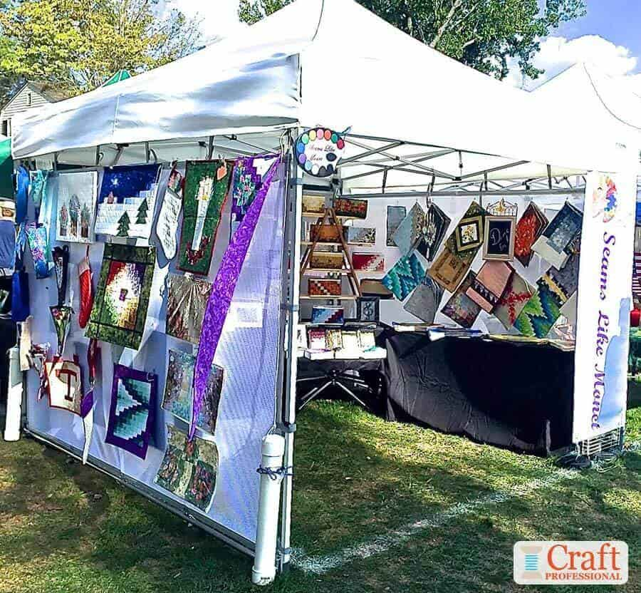 Quilt art on display at a craft show
