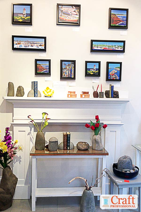 Art displayed in a retail shop