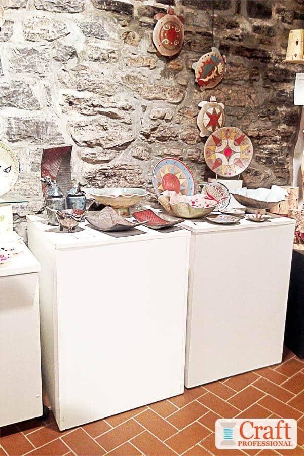 White pedestals in a handmade shop